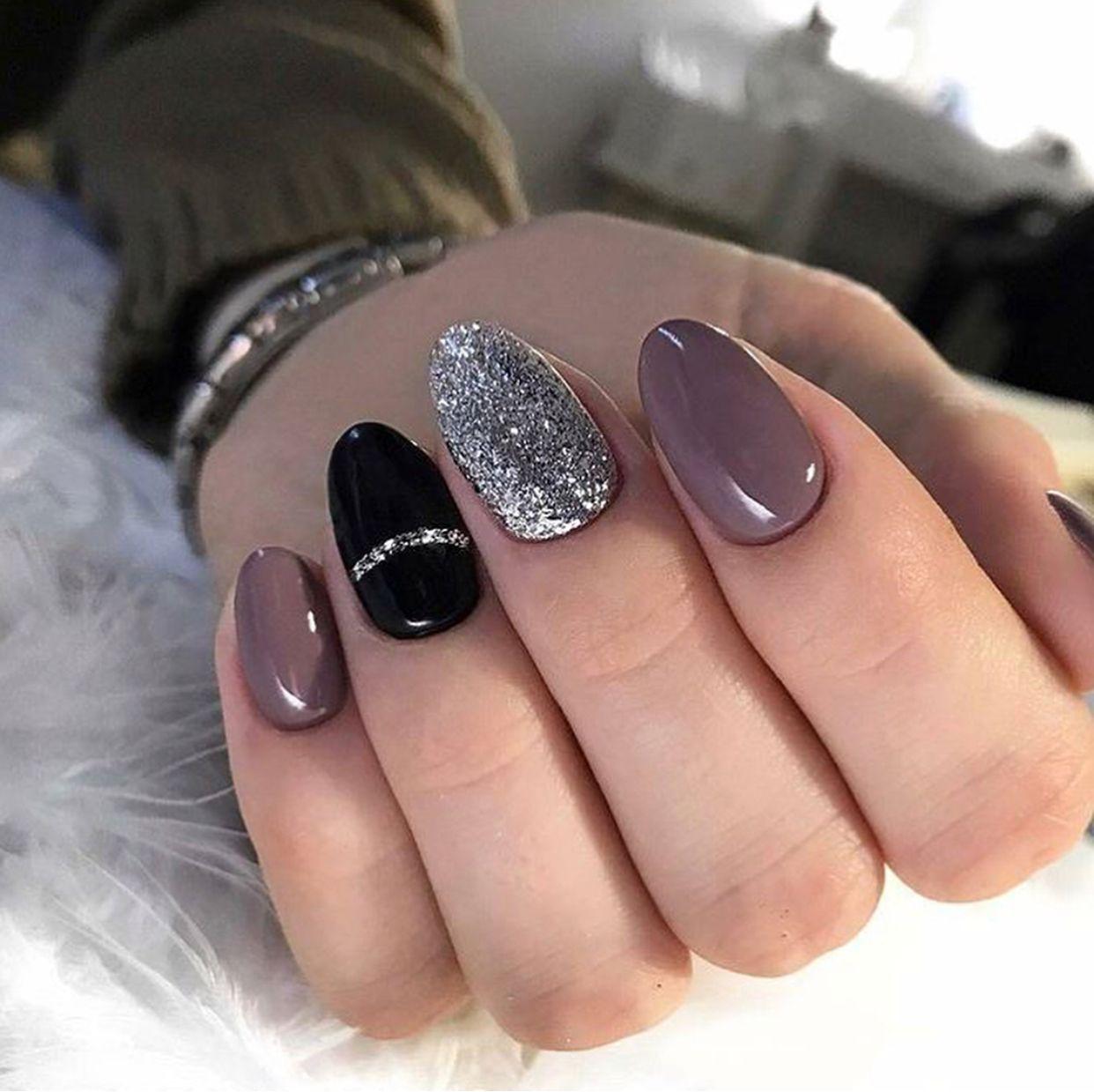 blush black and silver nails | Nails | Pinterest | Silver nail ...