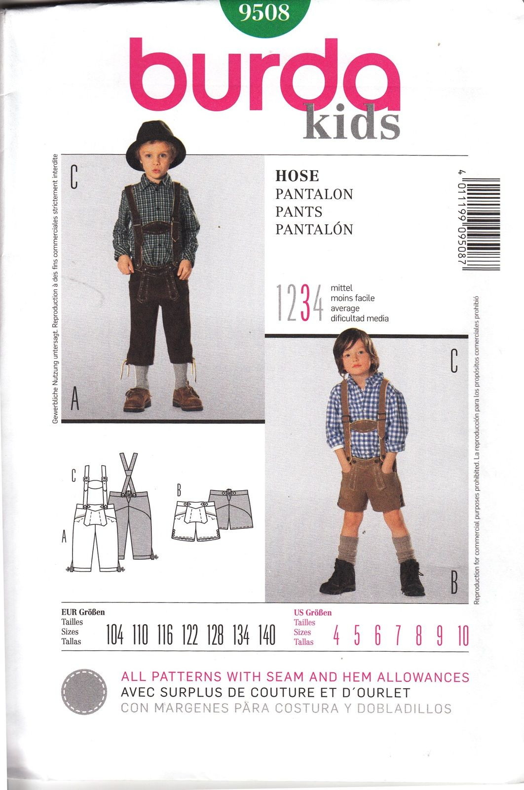 Boys Lederhosen Bundhosen Pattern