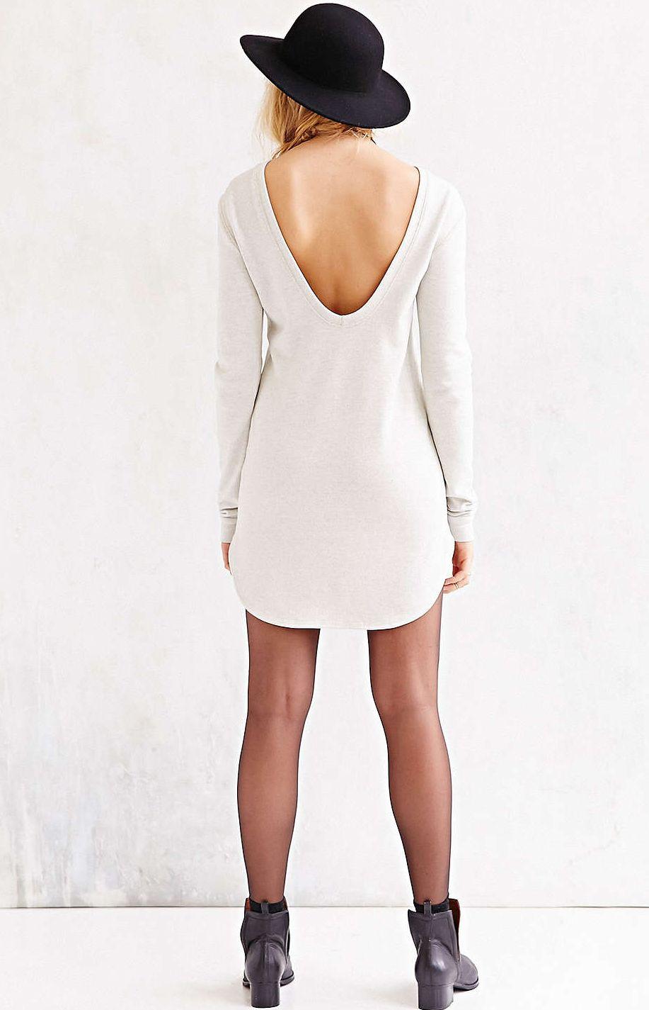 Beige long sleeve backless dress room for more pinterest
