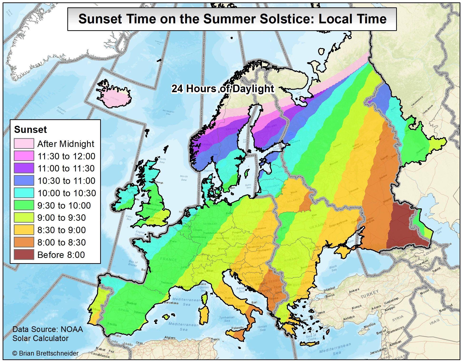 Sunset on summer solstice in Europe  MAPS  Pinterest  Summer
