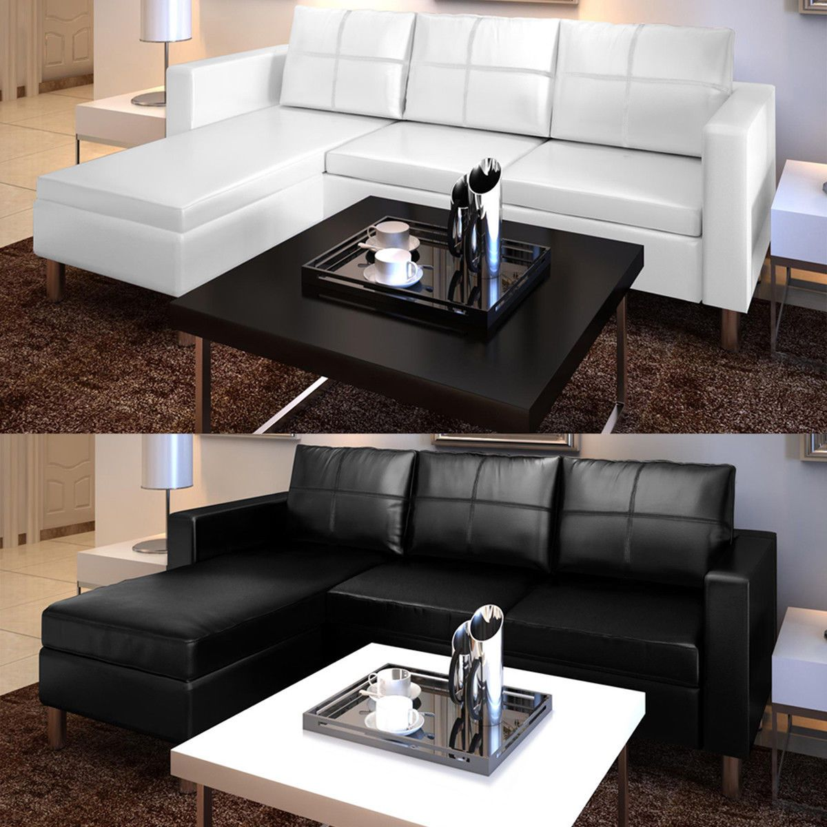 Seats And Sofas Genk Artificial Leather Sectional Sofa Configurable Chaise Lounge Couch