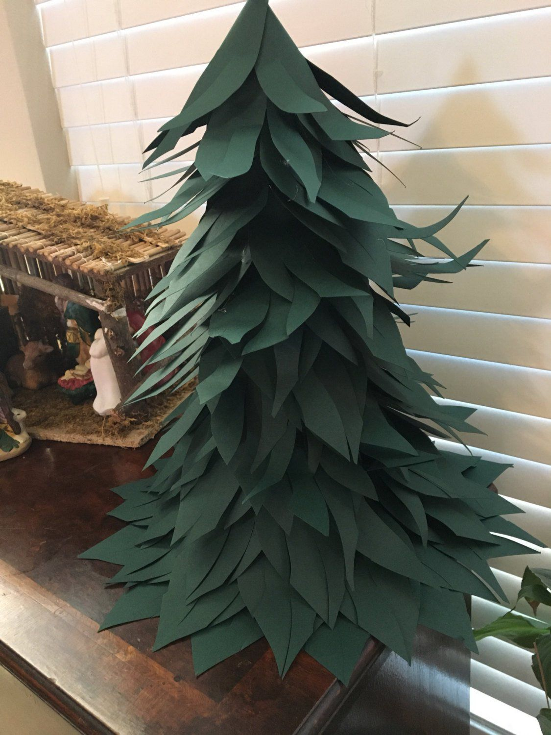 Paper Flower Paper Christmas Trees Green Paper Christmas Etsy In 2020 Paper Flowers Paper Tree Paper Mache Tree