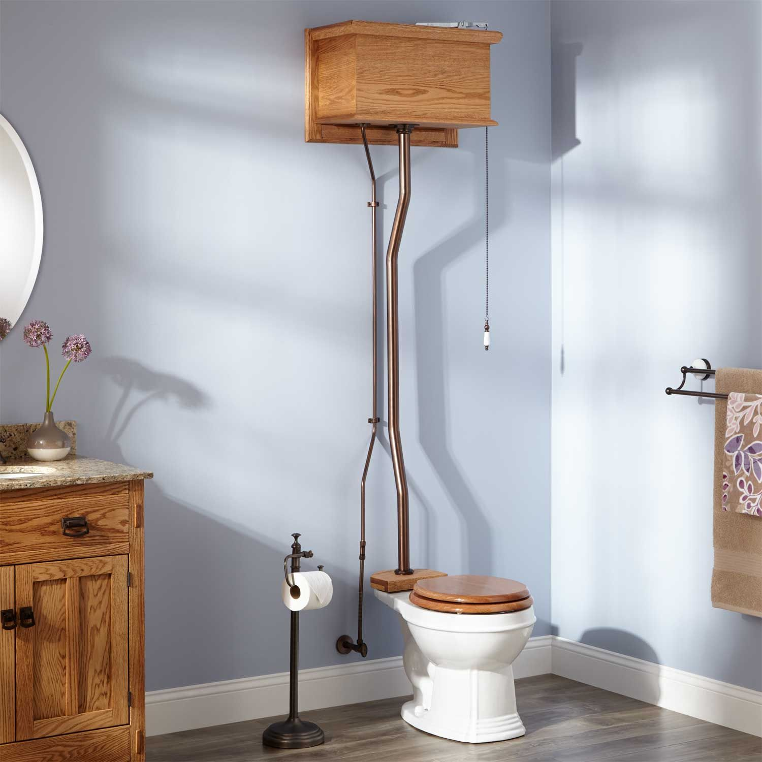High Tank Pull Chain Toilet Golden Oak High Tank Pull Chain Water Closet With Round Victorian