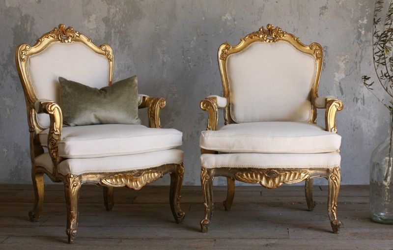 Vintage Gilt Louis Xv French Style Armchairs Pair French Hand Carved Shabby Upholstered Chic Antique Go Upholstered Furniture Rustic Furniture Diy Furniture