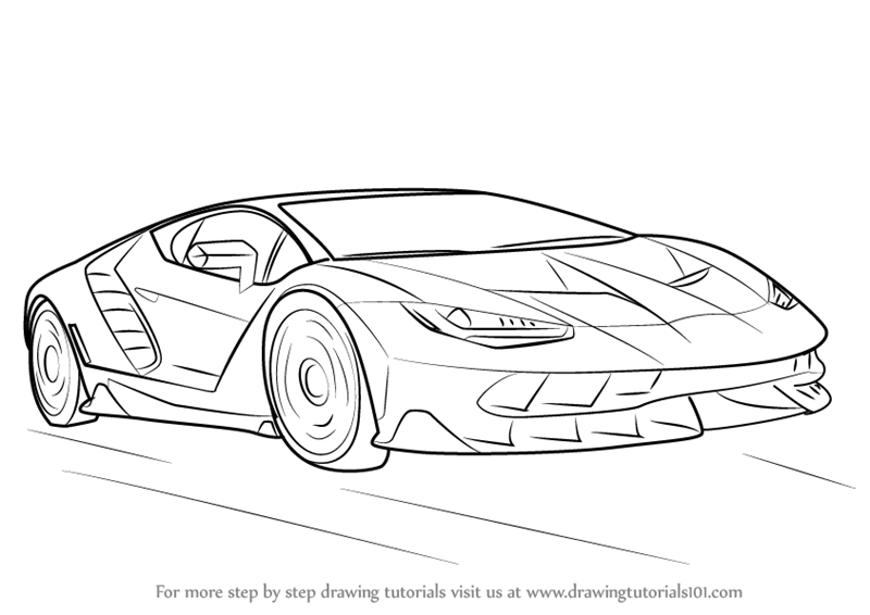Learn How to Draw Lamborghini Centenario (Sports Cars) Step by Step ...