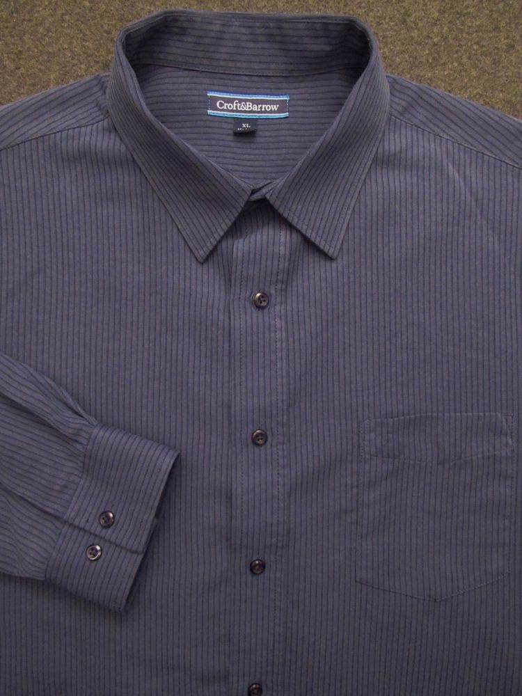 Men S Blue Striped Croft Barrow Long Sleeve Dress Casual Shirt