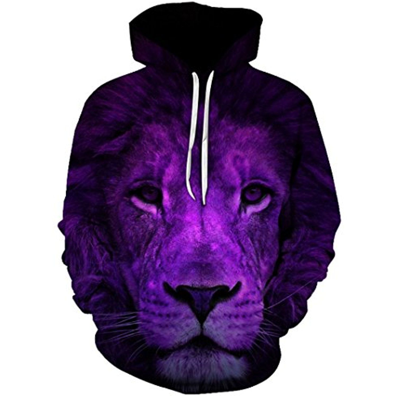 SWAG Hoodies Women Purple Lion King 3d Digital Print Pullover Sweatshirt  Sweater Streetwear Coat >>