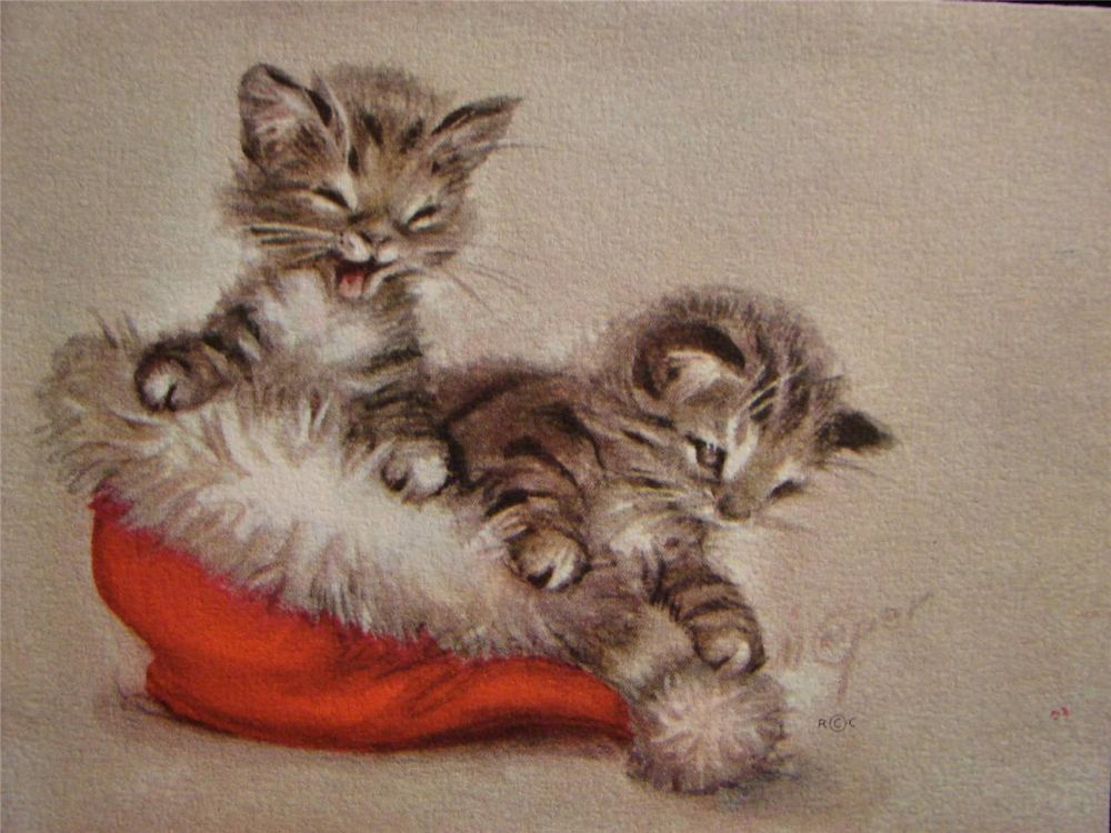 """VINTAGE """"KITTENS IN SANTA'S CAP - MARJORIE COOPER!!"""" CHRISTMAS GREETING CARD"""