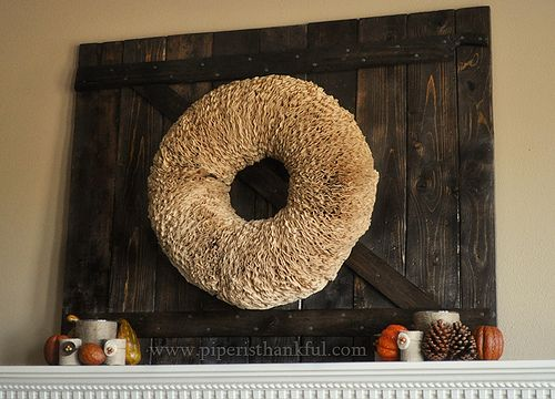 Distressed Wood Boards for Fireplace Mantel, Coffee Filter Wreath