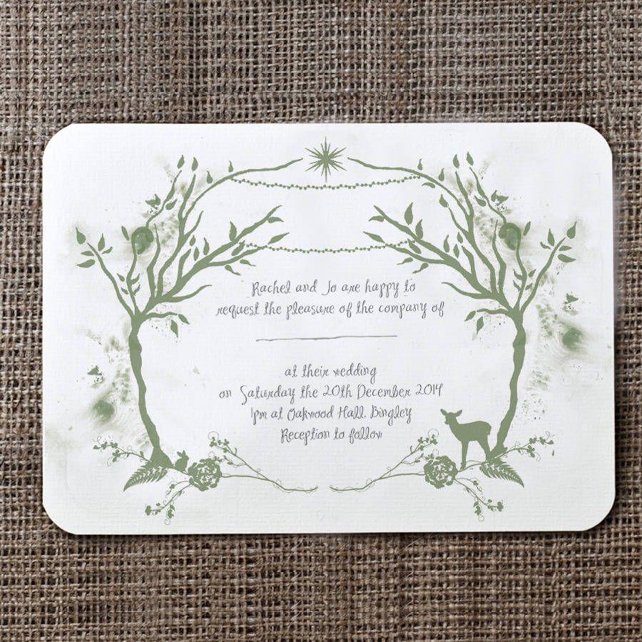 Woodland Wedding Invitation And Details / RSVP Card | Wedding Theme ...