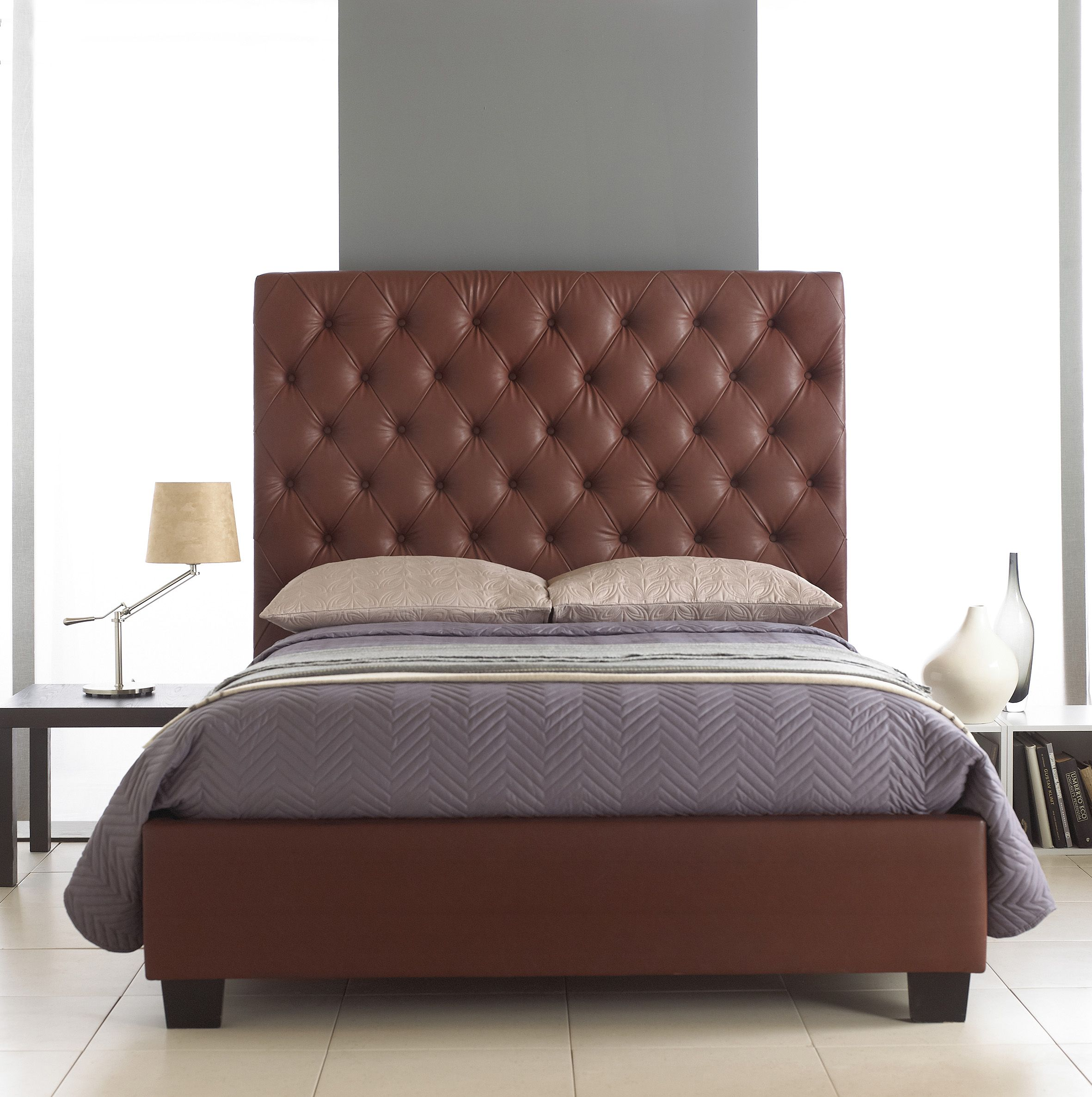 Windsor Burgundy Upholstered Double Bed With Tall Padded Headboard