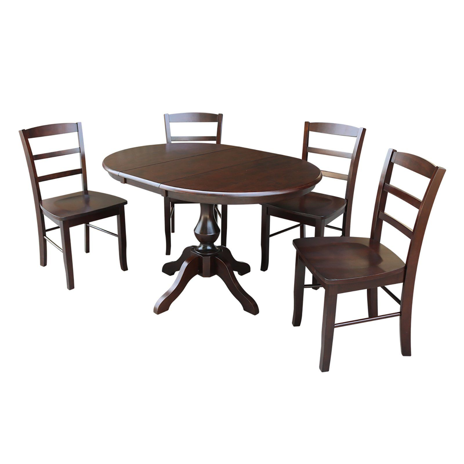 International Concepts 5 Piece Round Dining Table Set With Extension Leaf And Madrid Chairs Round Dining Table Sets Furniture Dining Table Dining Table