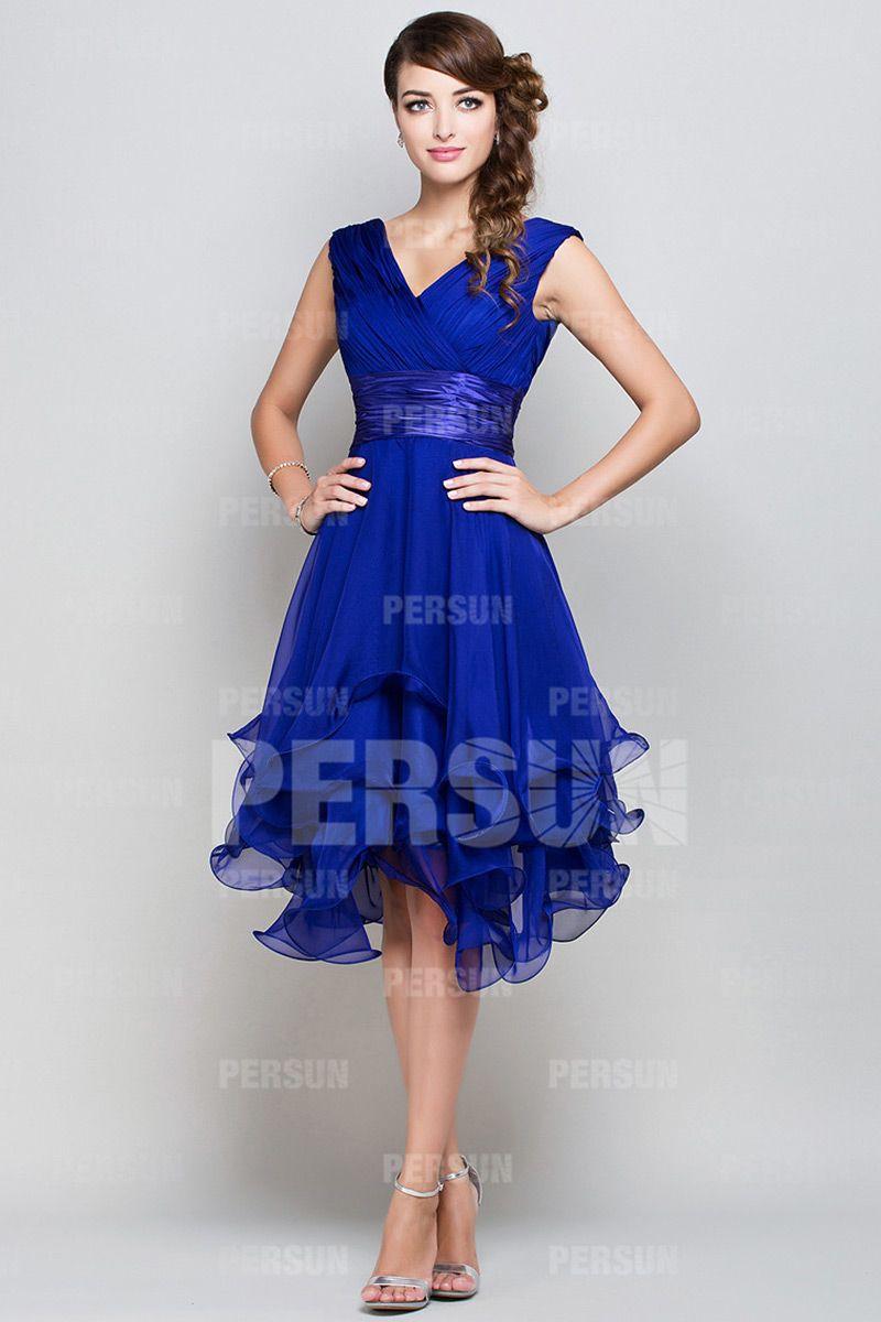 robes longues ceremonie mousseline bleu roi