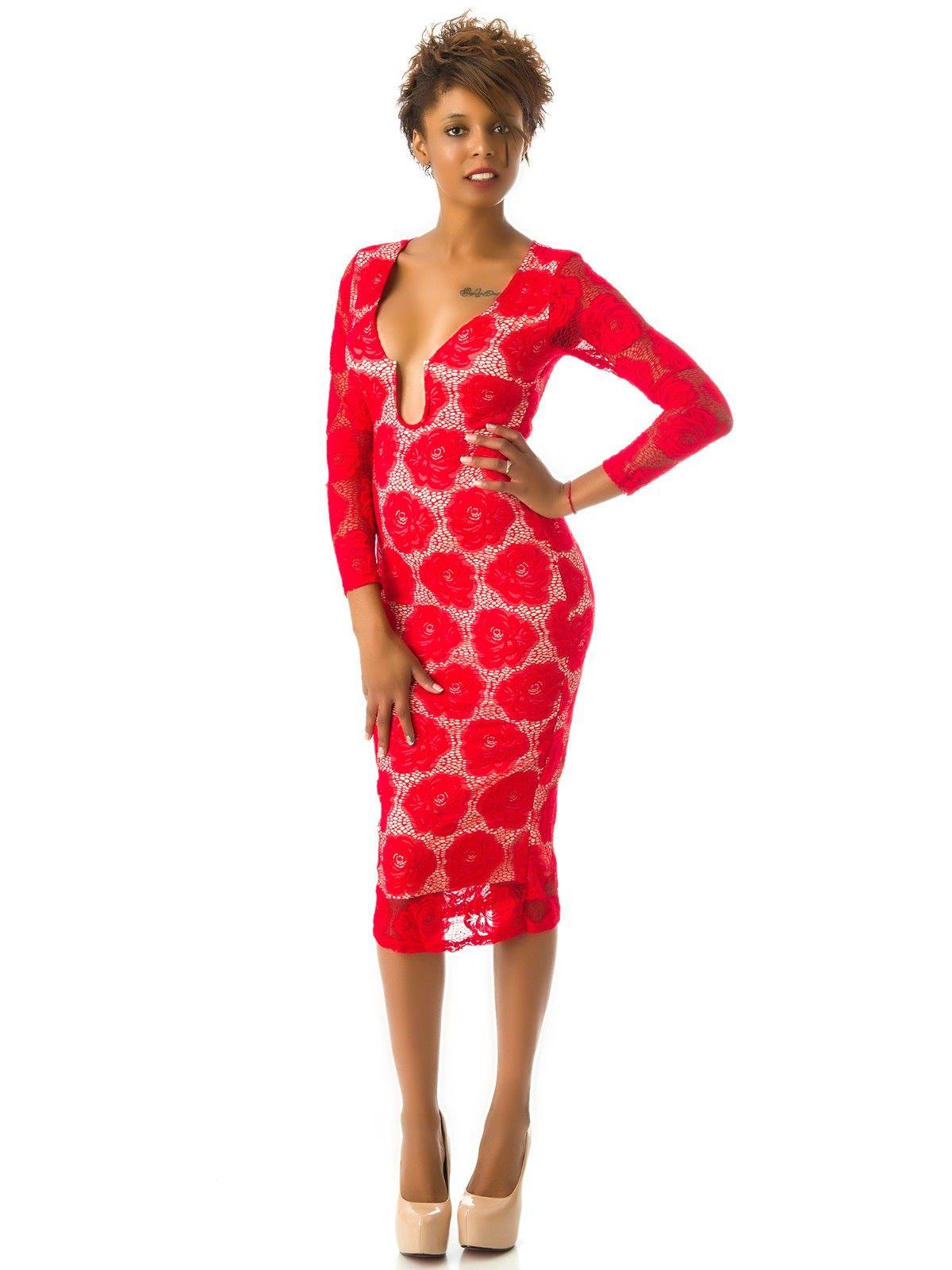 Vestido de Manga Larga Rojo con Encaje MS1704
