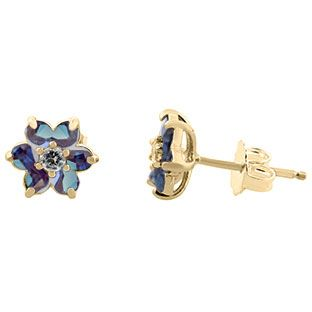 Alexandrite Gemstone Diamond Flower Stud Earrings In Yellow Gold Available Exclusively at Gemologica.com