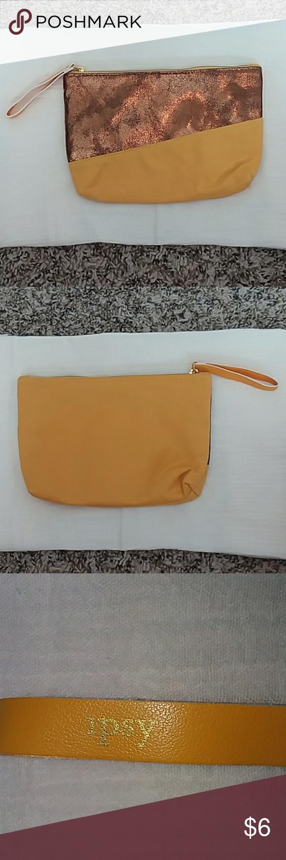 Ipsy makeup bag mustard yellow and bronze Ipsy makeup