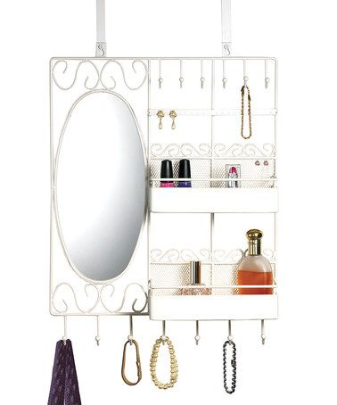 White Scroll Over Door Vanity Organizer By Home