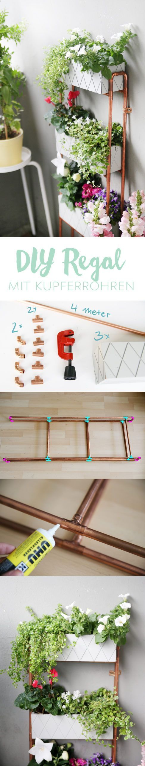 DIY For small balconies plant shelf made of copper pipes my fairy dust balconies