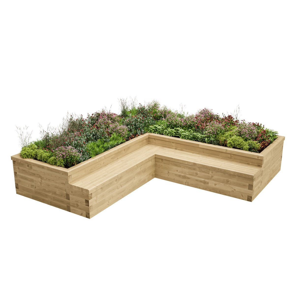 Large L-Shaped Bed with Seating   Garden seating, Diy ... on L Shaped Backyard Layout id=33243