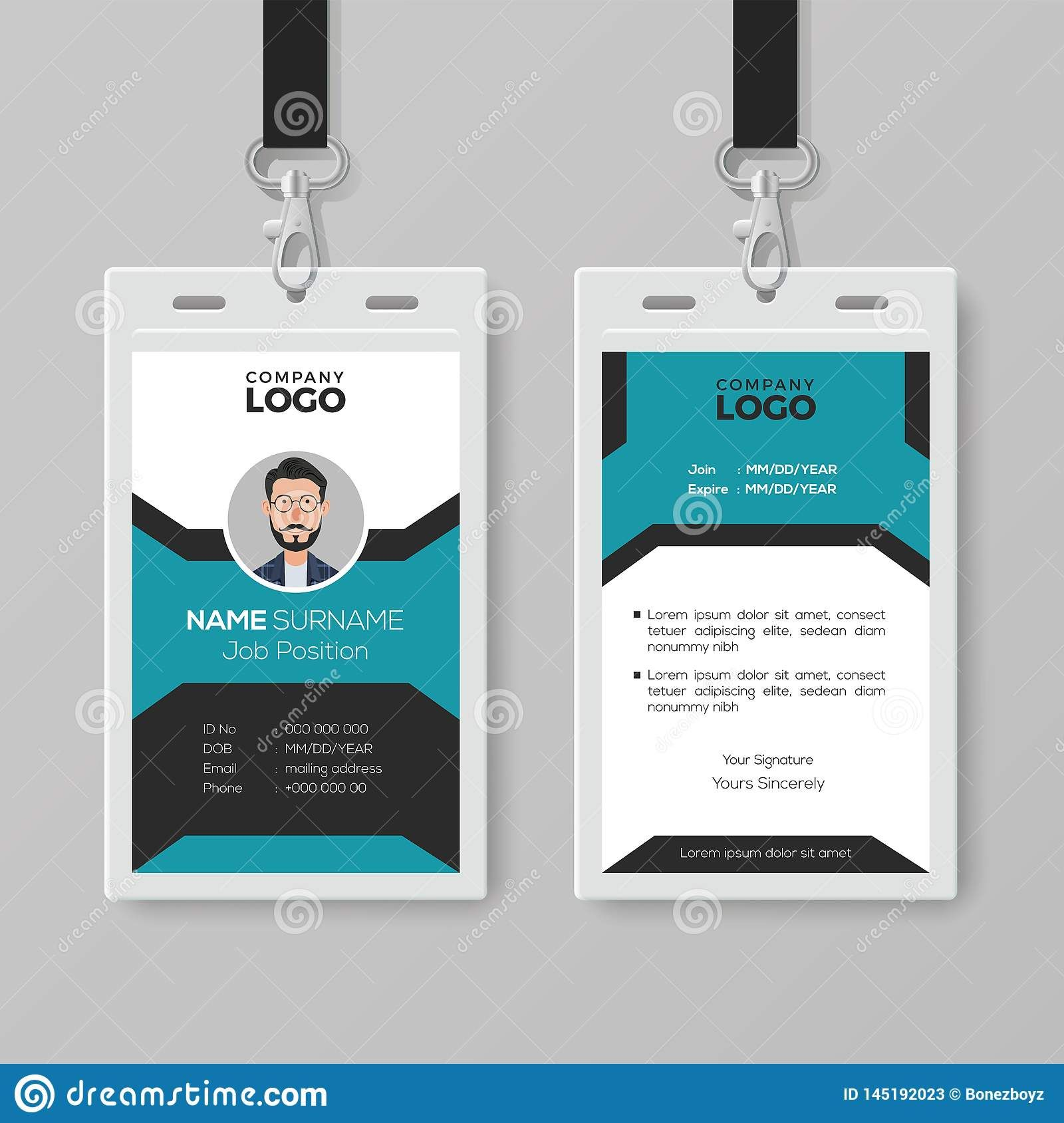 The Charming Creative Employee Id Card Template Stock Vector Throughout Pvc Id Card Template Images Below Is Id Card Template Employee Id Card Employees Card