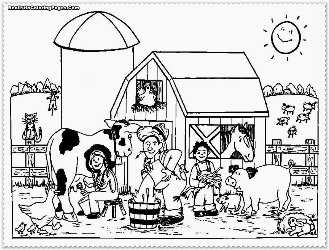 Farm Scene Coloring Page Realisticcoloringpages Com Farm