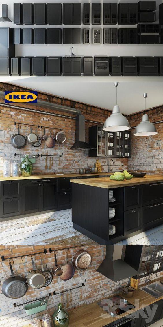 Cuisine avec faces de tiroir et portes brun-noir et portes vitrées - meuble cuisine porte coulissante ikea