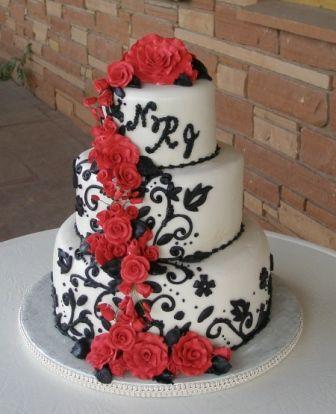 Elegant Fondant Wedding Cakes I Love The Red Black Something About Contrast