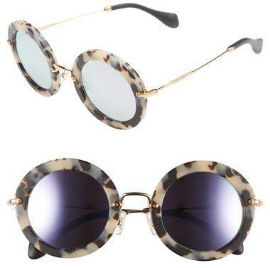 33c38c8fb01ed Beige tortoise shell sunglasses. Miu Miu  Noir  49mm Round Sunglasses