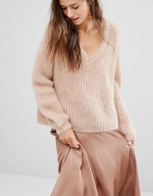 0e39762ead5 Gestuz pull à col v en mohair et laine mélangés modèle tricoté maille  épaisse douce. rose femme