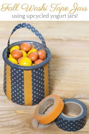Fall Washi Tape Jars - Cute DIY Using Upcycled Yogurt Jars