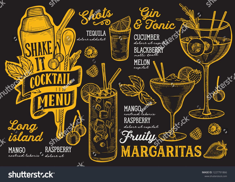 Cocktail Menu Template For Restaurant On A Blackboard Background Vector Illustration Brochure For Food And Drink Bar De Cocktail Menu Menu Template Drink Menu