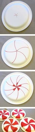 How to paint a paper plate peppermint (Image only) & Happy #Birthday Ideas - (Click on pics) To view more items ...