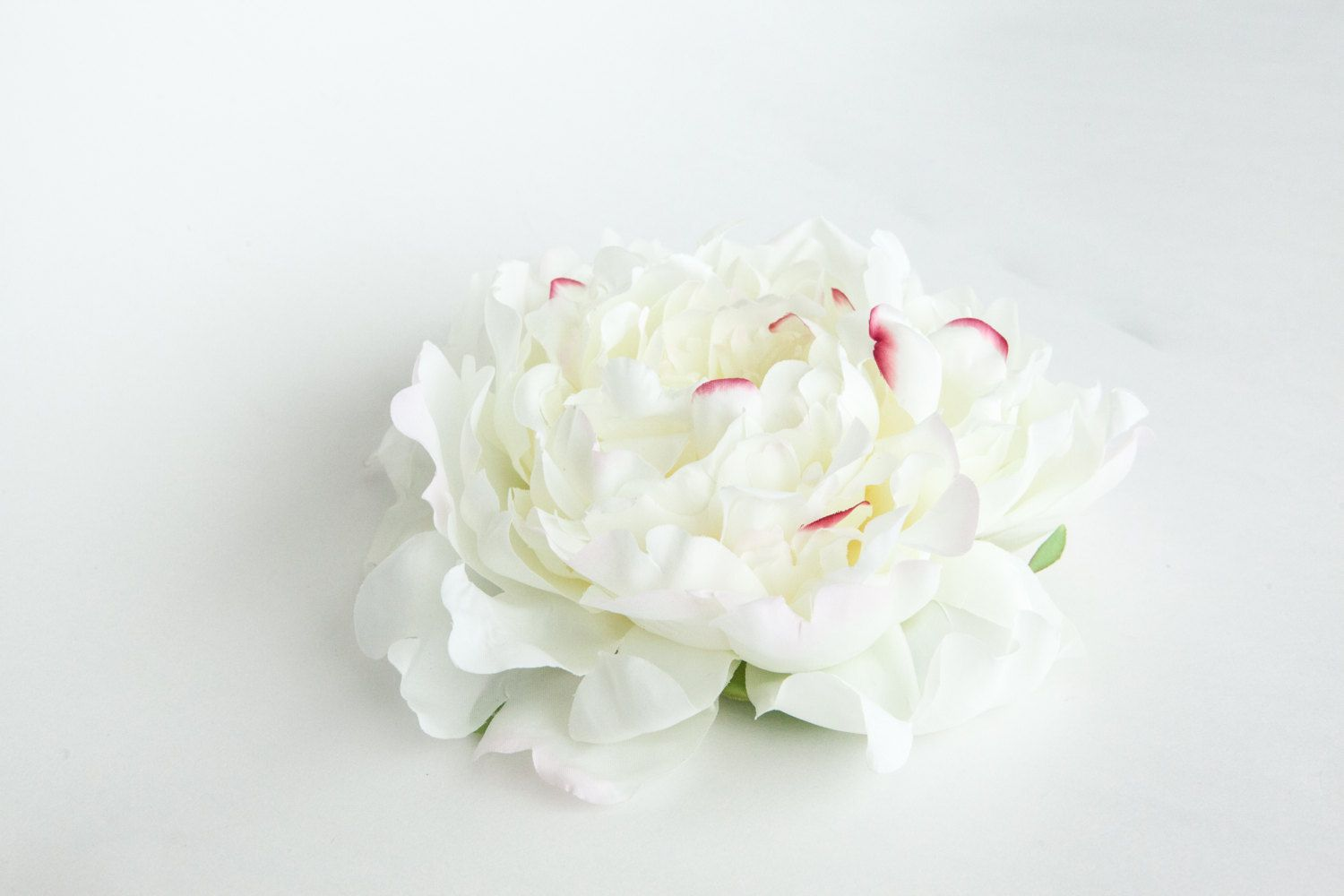 Extra Large Peony In White With Pink Accents Artificial Flowers