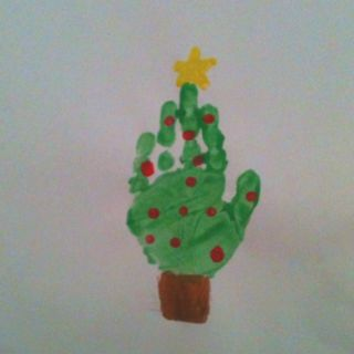 I Made These With My Kids At Preschool I Thought It Was A Cute Idea For Christmas Preschool Christmas Christmas Crafts Handprint Christmas