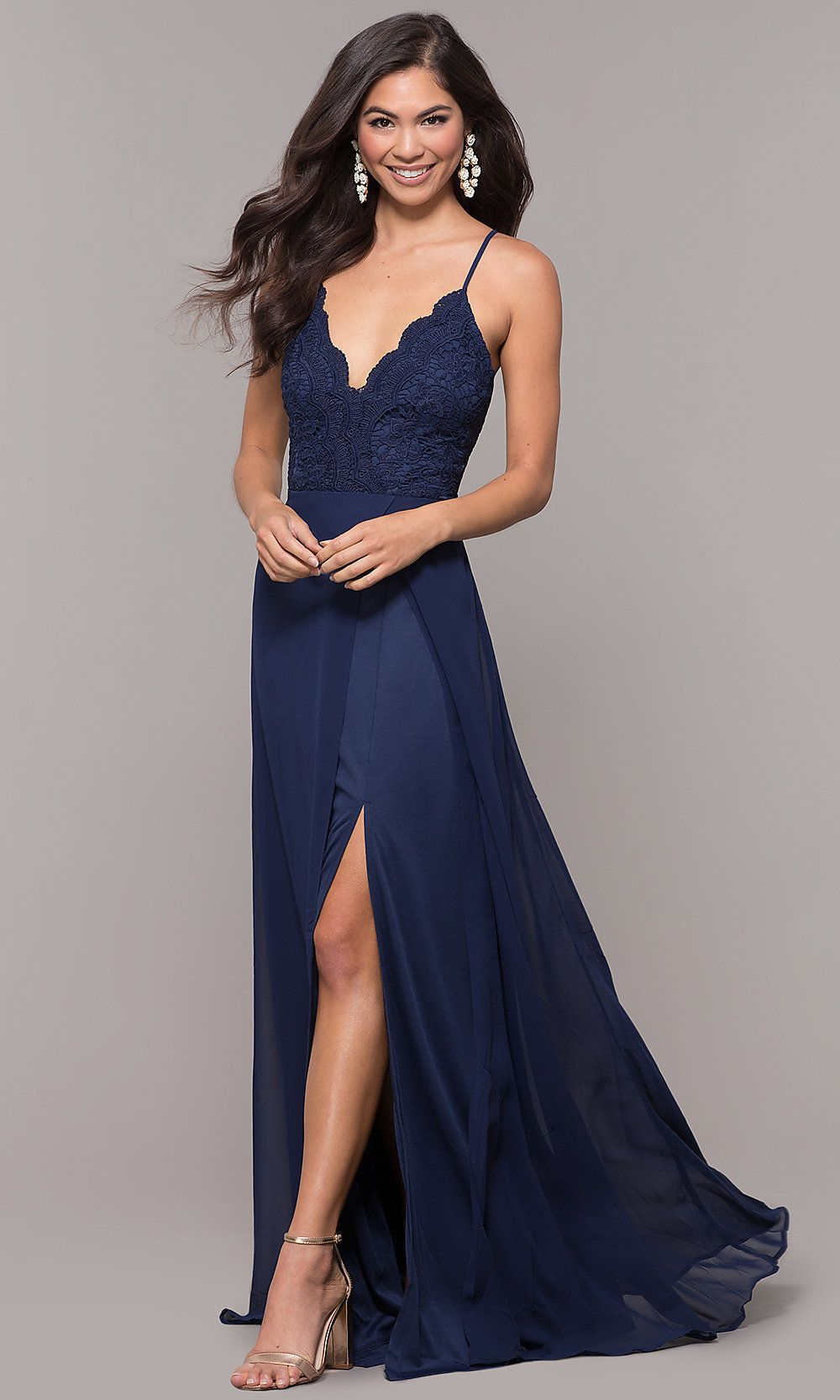 e1dbab6237e Long Blue Prom Dress with Lace V-Neck Bodice -PromGirl
