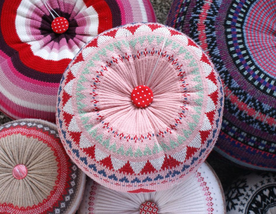 MEDIUM Upcycled Eco knit fairisle, cable floor cushion pouf hassock, pink red white love hearts. $49.00, via Etsy.