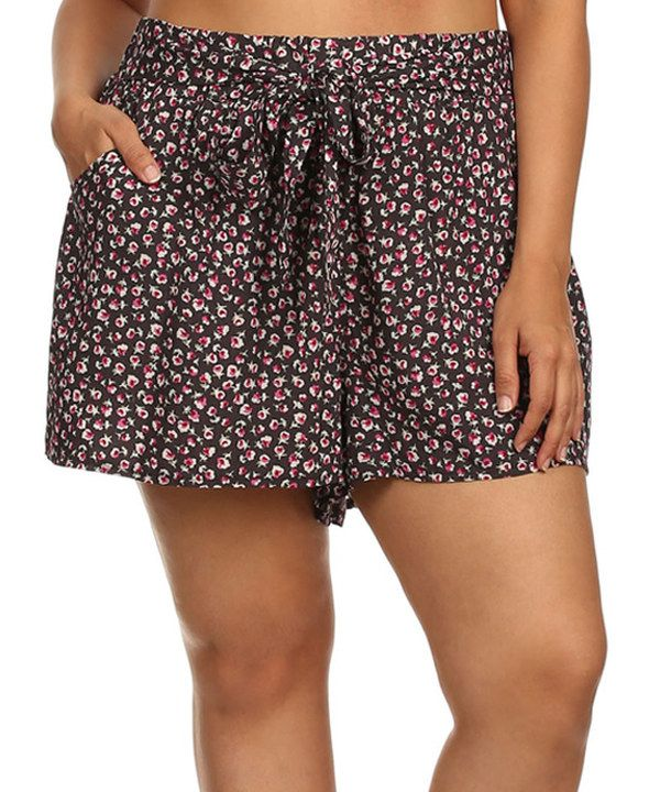 Look at this Charcoal Floral Tie-Waist Shorts - Plus on #zulily today!