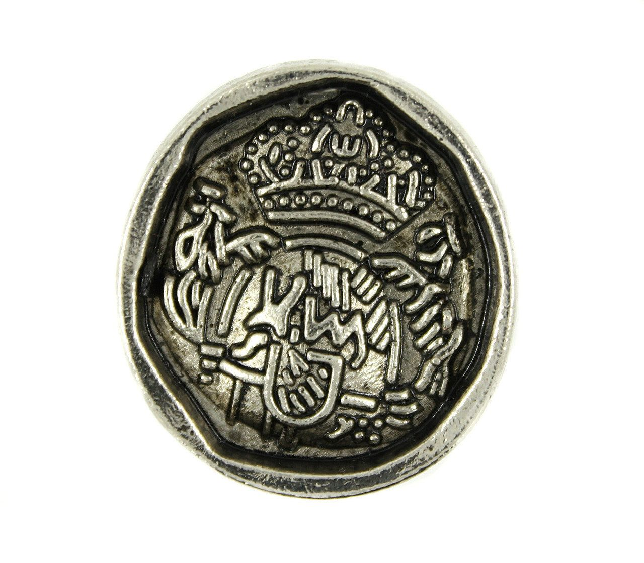 Irregular Round Oracle Emblem Retro Silver Metal Shank Buttons - 31mm - 1 1/4 inch