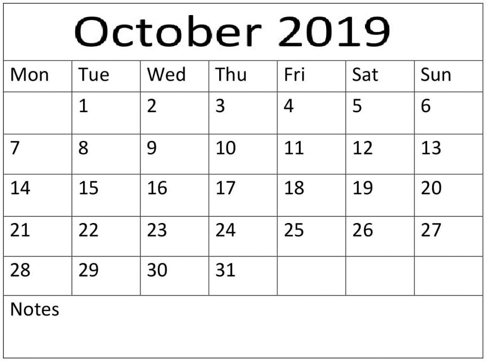 print october 2019 blank number calendar