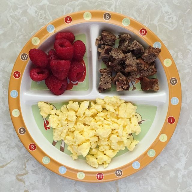 Thursday #breakfast for Noah looks a little something like this 👆🏻 Egg scramble + raspberries + paleo dark chocolate chip banana bread [his fav because what kid doesn't like chocolate?]. He was not in the mood for eggs so it became Mommy's topping for her Ezekiel toast, and Noah had some berry hot #oats (with hidden egg) instead ✌🏻