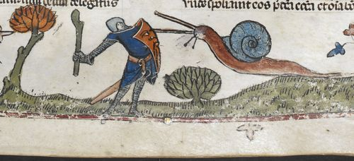 Knightv Snail V: Revenge of the Snail (from the Smithfield Decretals, southern France (probably Toulouse), with marginal scenes added in E...