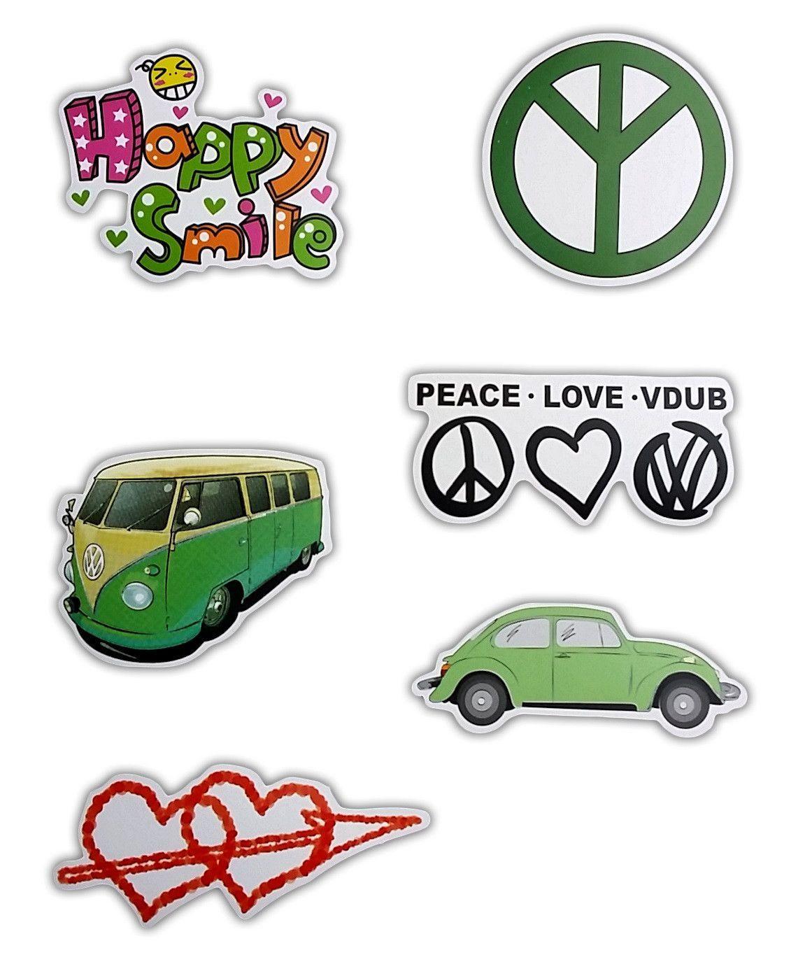 Volkswagen Vdub Peace Love Skateboard Stickers Set Of 6 Stickers Skateboard Stickers Sticker Set Peace And Love [ 1385 x 1151 Pixel ]