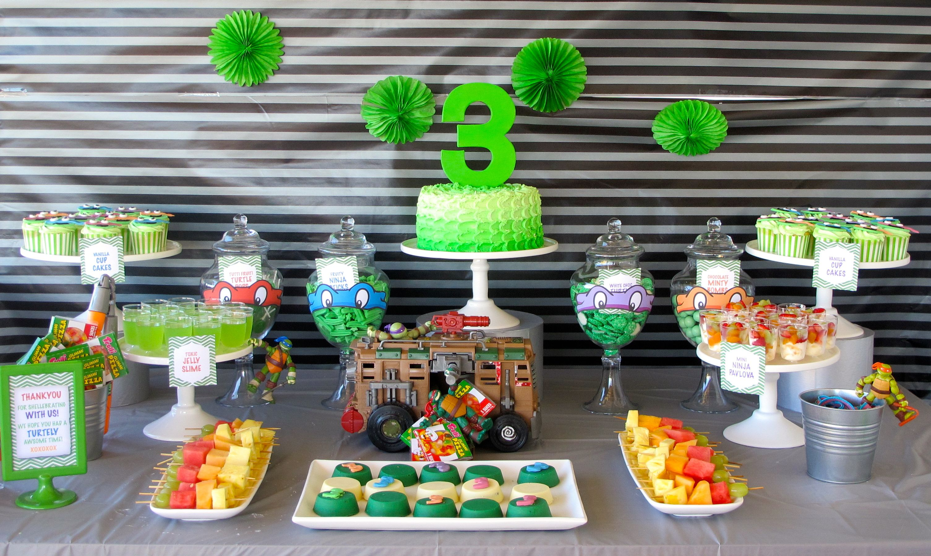Teenage Mutant Ninja Turtle Tmnt Dessert And Candy Bar Candy Buffet Design Styl Birthday Party Desserts Ninja Turtles Birthday Party Ninja Turtle Theme Party
