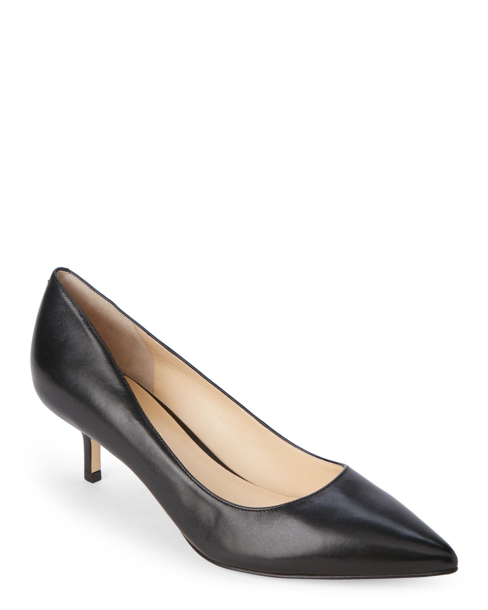Ivanka Trump Black Athyna Leather Kitten Heel Pumps
