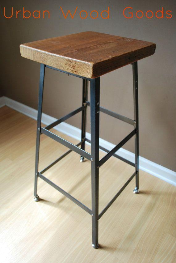 Urban Bar Stool For Counter Height Bar Height Or Table Height Wood Bar Stools Steel Bar Stools Reclaimed Wood Bars
