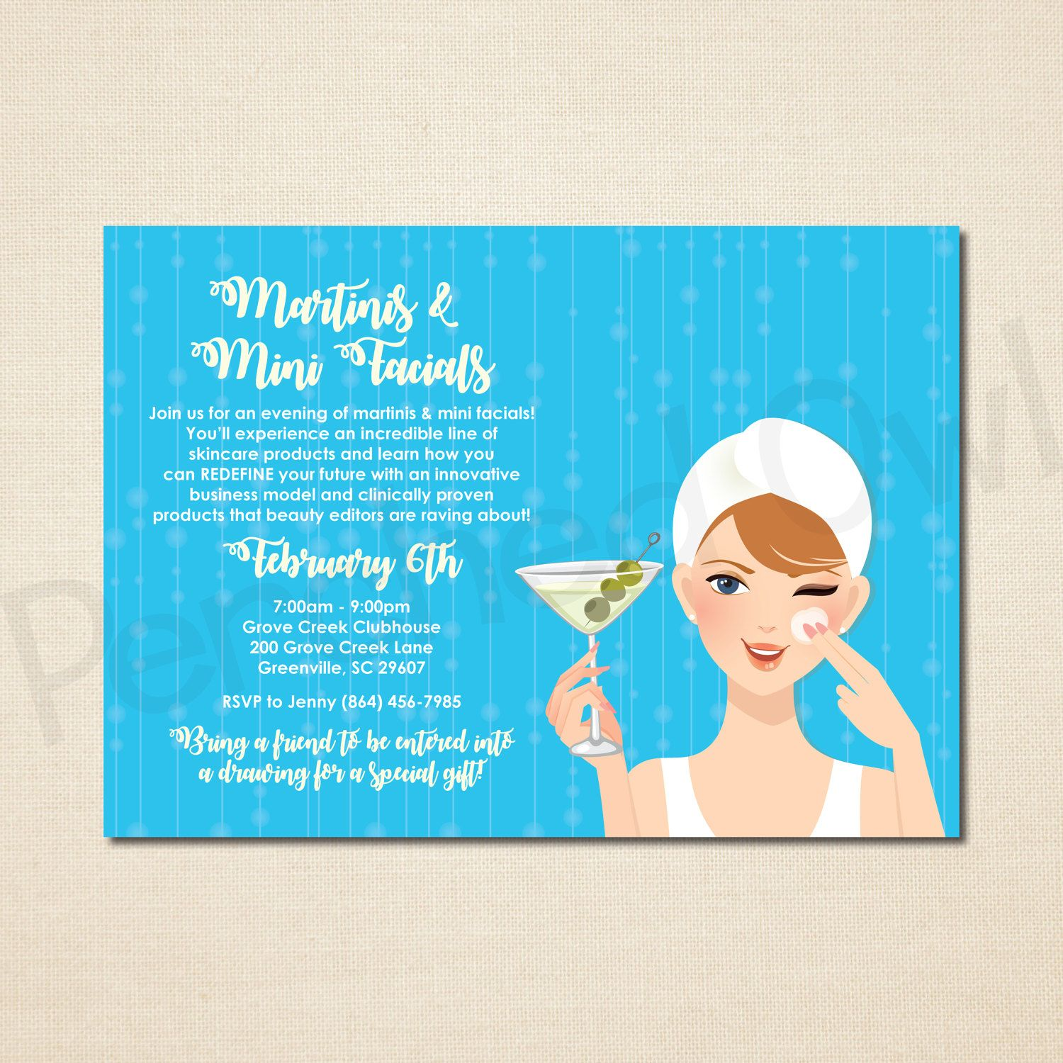 Martinis & Mini Facials Invitation - Direct Selling - Business ...