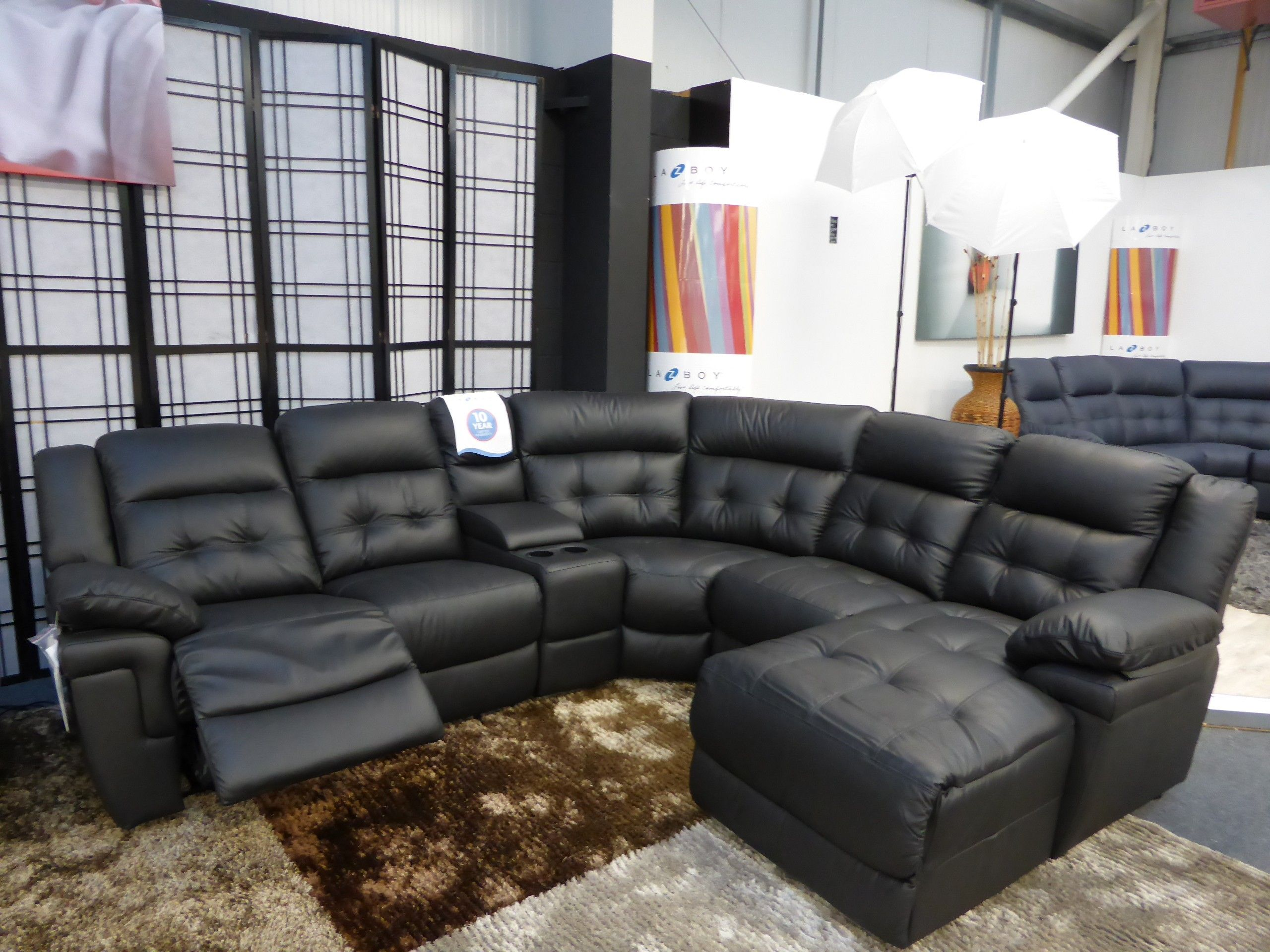 Living Room Furniture Tufted Black Authentic Leather Corner ...