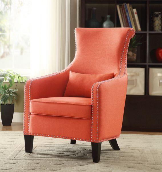 Best Homelegance Orange Fabric Accent Chair Modlivingdecor 640 x 480