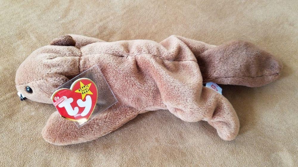 14e45e41f45 RARE TY Beanie Baby BUCKY BEAVER w  TAG ERRORS DOB PVC Deutschland Mint New   Ty