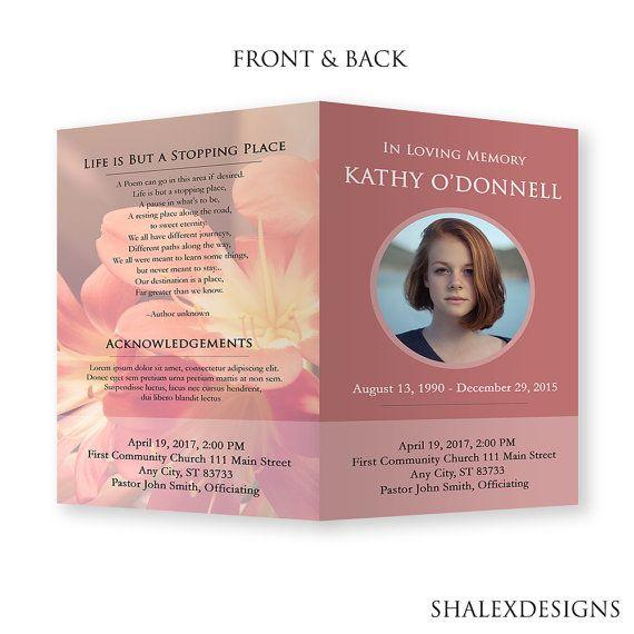 Funeral Template - Funeral Program Template, Memorial Card